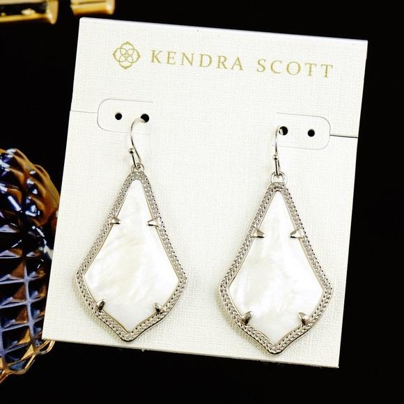 New Kendra Scott Alex Black Silver tone Earrings